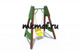 ИО 01166 Качели деревянные полянка одинарные (сиденье со спинкой)
