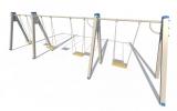 ИО 01241 Качели на металлических стойках с 4 сиденьями без спинки