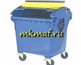 Контейнер для мусора пластиковый с КРУГЛОЙ крышкой на обрезин. колесах
