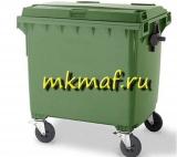 Контейнер для мусора пластиковый с крышкой на обрезин. колесах